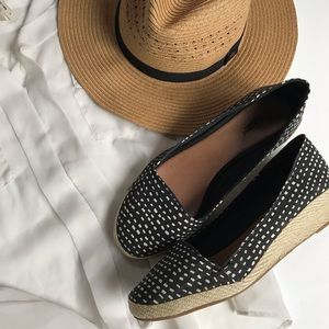 Lucky Brand black and white wedge slip on- 9.5